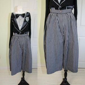 Vintage 70's Grey Navy Striped Gauchos Culottes